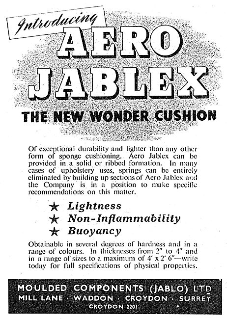 Jablo JABLEX Aircraft Seating Cushion Material - 1949
