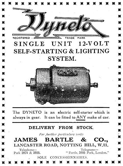 James Bartle DYNETO Starter Generator  1919