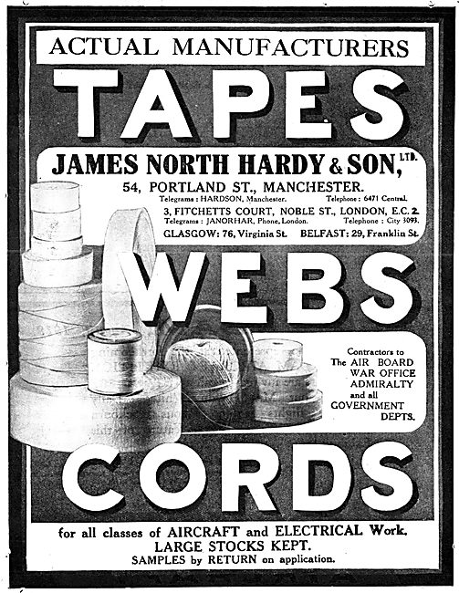 James North Hardy & Son Ltd. Manchester. Aircraft Tapes & Cords