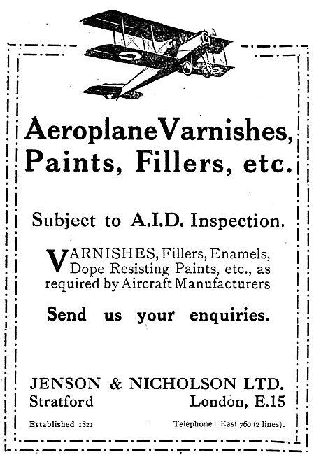 Jenson & Nicholson Aeroplane Paints & Fillers