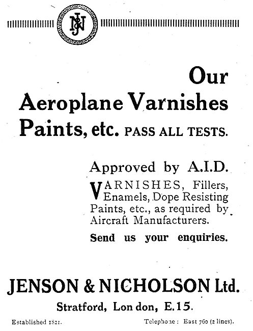 Jenson & Nicholson Aeroplane Varnishes