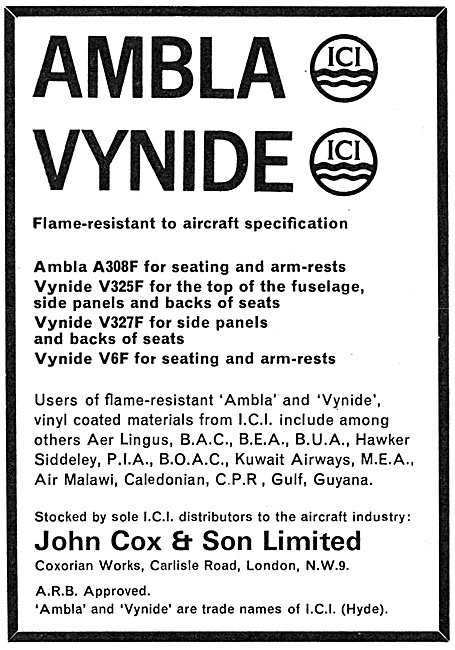 John Cox - Textiles: Vynide Fireproof Fabrics AMBLA