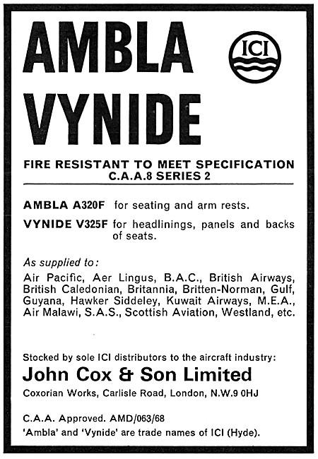 John Cox - Textiles: ICI AMBLA VYNIDE  Aircraft Seat Coverings