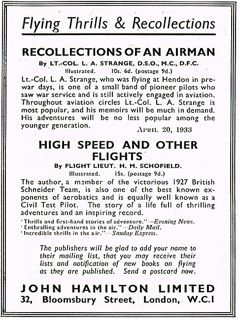 Recollections Of An Airman L A Strange