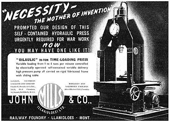 John Mills Engineering Machinery. - Oilaulic Time-Loading Press
