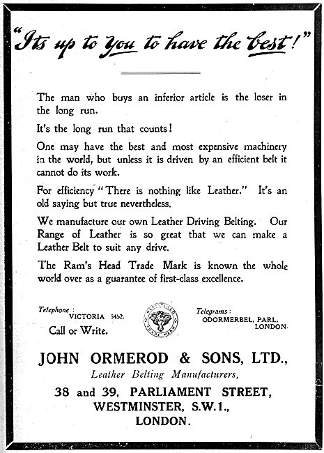 John Ormerod & Sons. Leather Belting Manufacturers