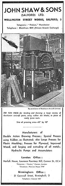 John Shaw & Sons. Machine Tools. 700 Ton Press