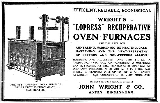 John Wright & Co: Lopress Recuperative Oven Furnaces - 1918 Ad