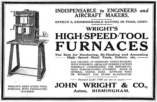 John Wright & Co: Wright's High-Speed-Tool Furnaces. 1918
