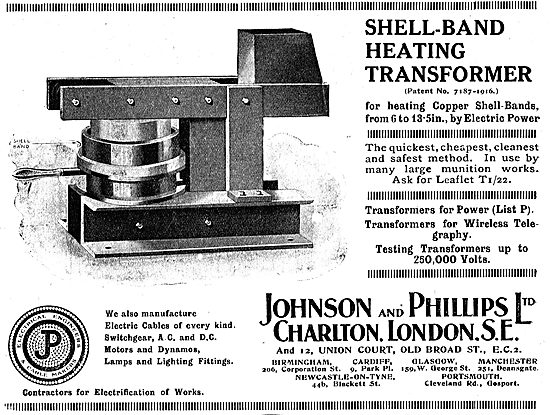 Johnson & Phillips Factory Shell-Band Heating Transformers