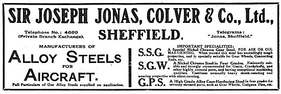 Jonas, Colver & Co.  Alloy Steels For Aircraft. SSG SGW GPS