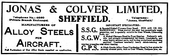 Jonas & Colver Alloy Steels For Aircraft; SSG SGW GPS