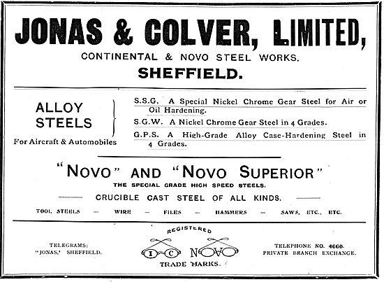 Jonas & Colver Alloy Steels For Aircraft. Novo & Novo Superior