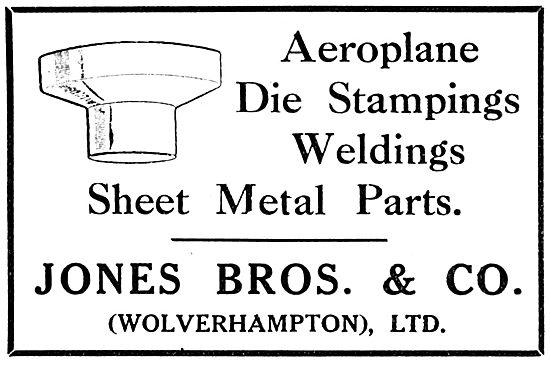Jones Brothers Aeroplane Die Stampings & Sheet Metal Parts