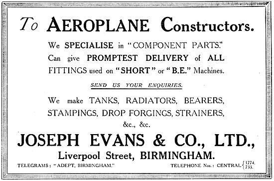 Joseph Evans - Aircraft Component Manufacturers. 1916