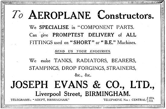Joseph Evans & Co  - Aircraft Component Manufacturers.
