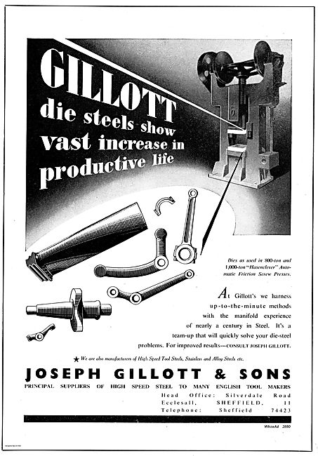 Joseph Gillot Suppliers High Speed Steel For The Aircraft Industr