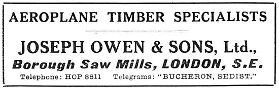 Joseph Owen: Timber For Aircraft Constructors 1917