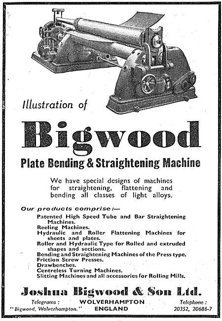 Joshua Bigwood Plate Bending & Strightening Machinery