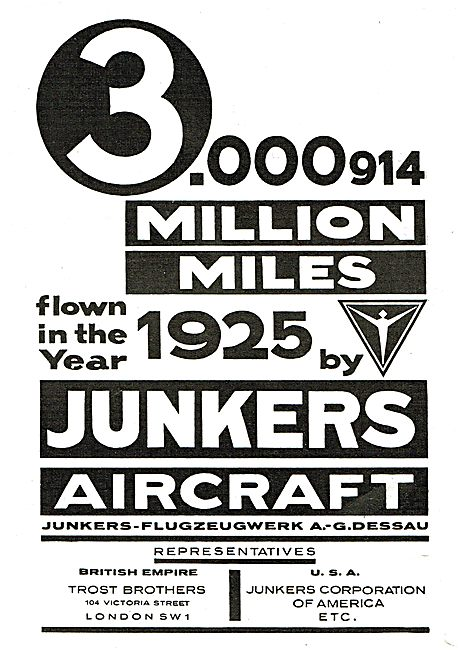 Junkers Aircraft - UK Representatives Trost Brothers London