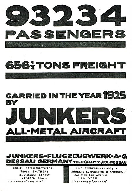 Junkers All Metal  Aircraft - 656 Tons Of Freight Carried In 1925
