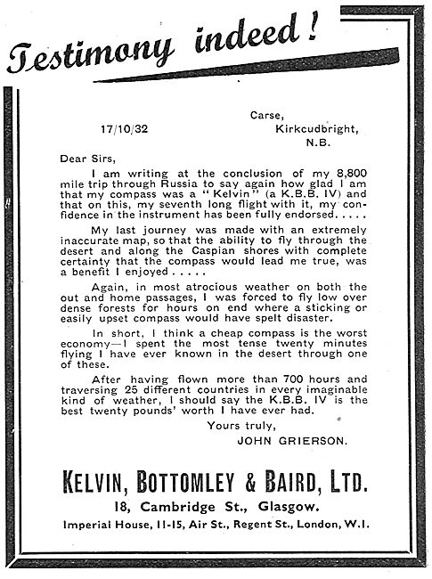 Testimonial For The KBB Aircraft Compass