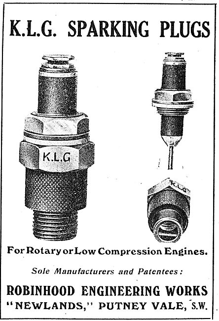 KLG Sparking Plugs For Rotary Or Low Compression Aero Engines