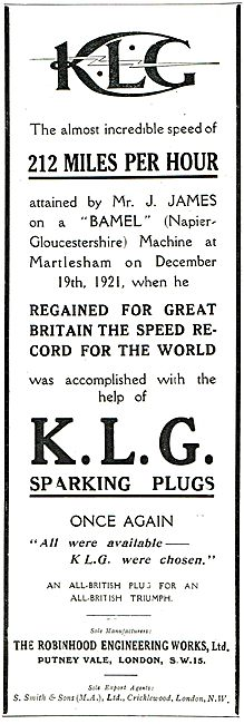 KLG Sparking Plugs - 212 MPH Napier Gloster