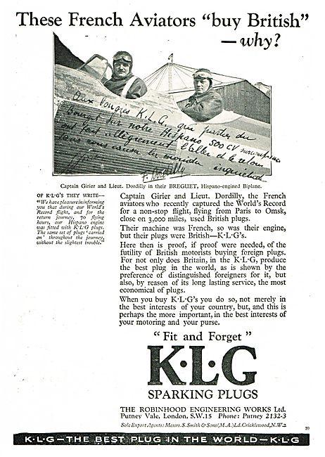 KLG Sparking Plugs For Captain Girier & Lieut Dordilly's Breguet