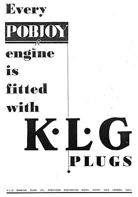 Every Pobjoy Engine Is Fitted With KLG Sparking Plugs