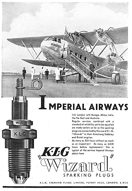 KLG Aircraft Sparking Plugs : Imperial Airways Horatius