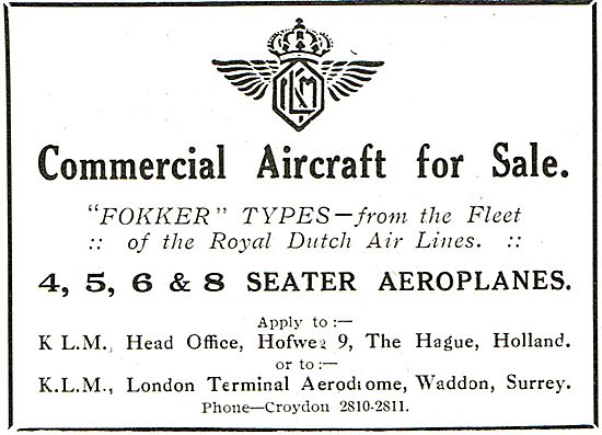 KLM Offers For Sale:  Fokker Types Ex Royal Dutch Airlines Fleet