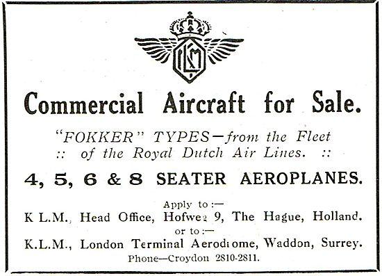 KLM Offers For Sale:  Fokker Types Ex Royal Dutch Airlines Fleet