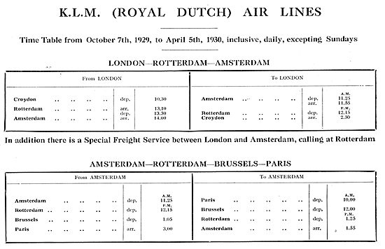 KLM Royal Dutch Air Lines - Time Table