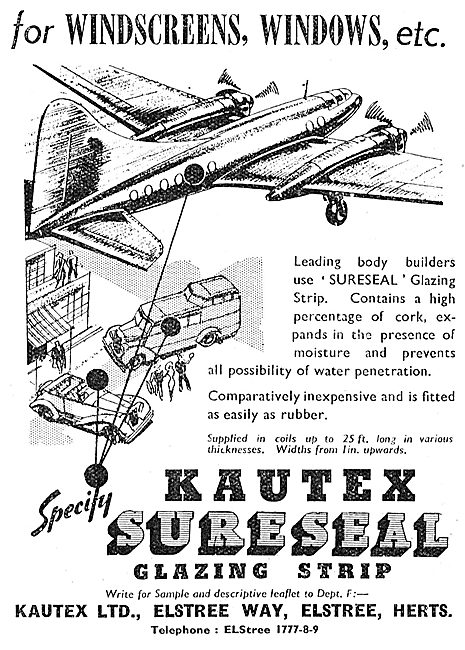 Kautex Sureseal Aircraft Windscreen Galzing Strip   1949