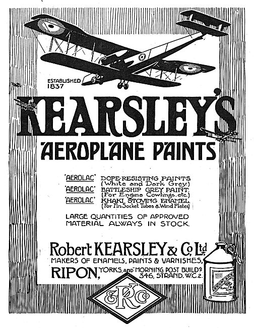 Robert Kearsley & Co. Makers Of Aeroplane Paints & Varnishes