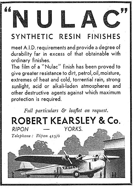 Robert Kearsley. Nulac Syntehtic Resin Aircraf Finishes. 1937