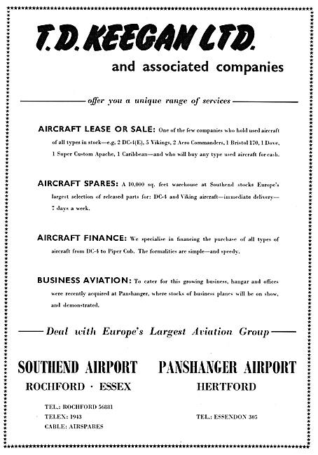T.D.Keegan Aircraft Sales & Spares 1960