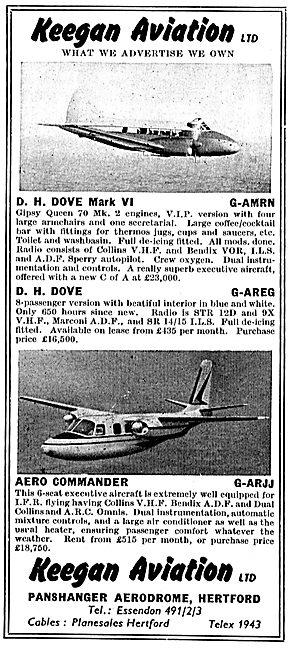Keegan Aviation: Sales: Dove G-AMRN: Aero Commander G-ARJJ