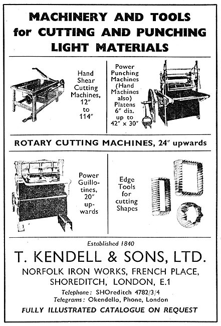 T.Kendell & Sons. Shoreditch. Cutting & Punching Machine Tools
