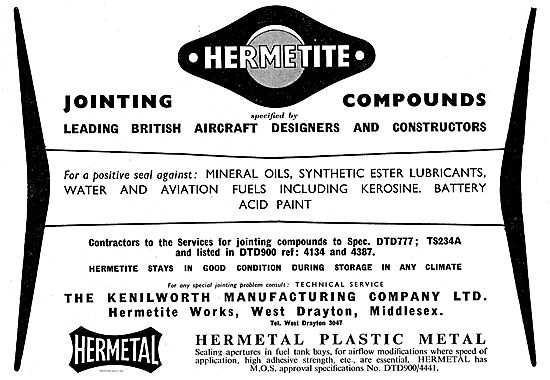 Kenilworth Manufacturing Hermetal & Hermetite Compounds
