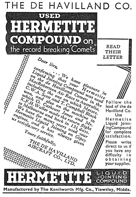 The Kenilworth Mfg Co. Hermetite Liquid Jointing Compound