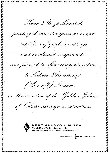Kent Alloys Congratulate Vickers On Their Golden Jubilee