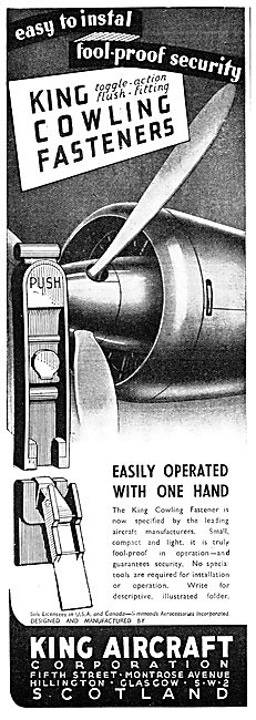 King Aircraft Corporation Toggle Action Cowling Fasteners. 1949