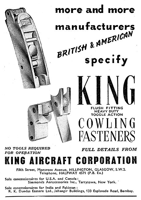 King Aircraft Corporation - King Toggle Action Cowling Fasteners