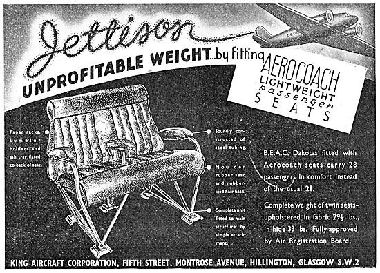 King Aircraft Corporation Aerocoach Passenger Seats