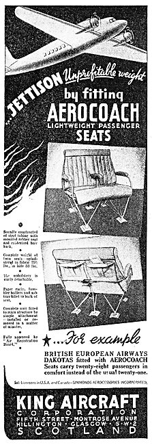 King Aircraft Corporation - Aerocoach Aircraft Seats. 1949