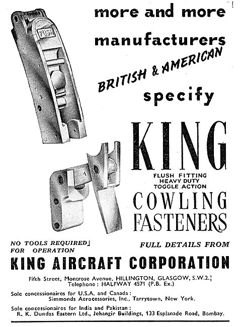 King Aircraft Corporation Cowling Fasteneres