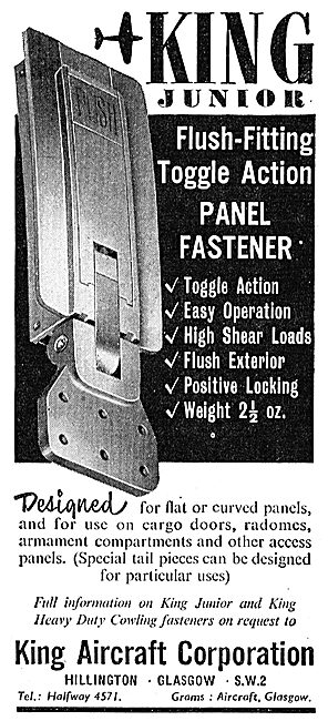 King Aircraft Corporation, Glasgow. Toggle Action Panel Fasteners