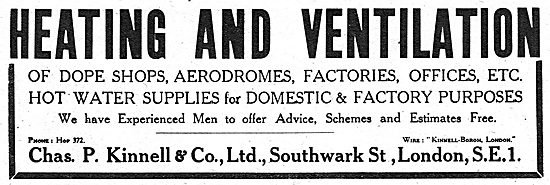 Chas P.Kinnell & Co: Air Conditioning For Aircraft Dope Shops